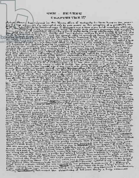 Facsimile of a page of manuscript, The Secret, Chapter 1st (engraving)