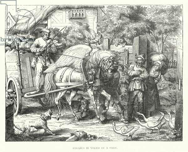 Pegasus is yoked in a cart (engraving)