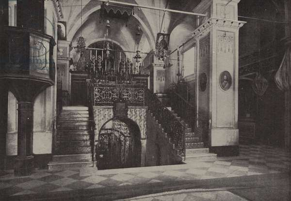 Interior Latin Church of Annunciation, Nazareth, standing over the site of the home of Joseph … (b/w photo)