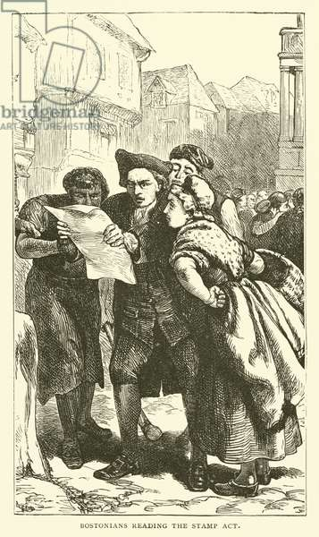 Bostonians reading the Stamp Act, 1765 (engraving)