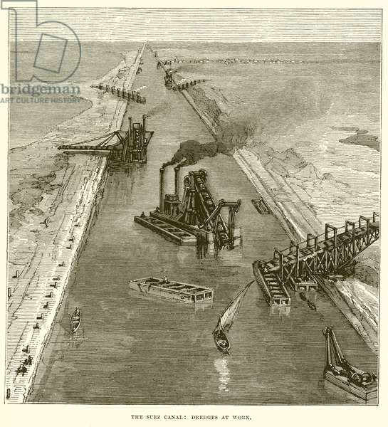 The Suez Canal: Dredges at Work (engraving)