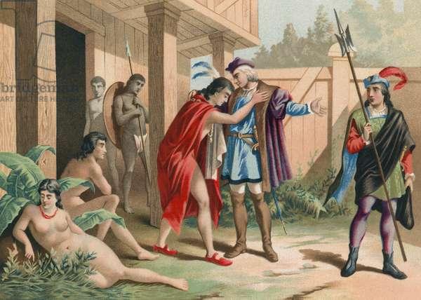 Columbus says goodbye to chief Guacanagarix in Hispaniola
