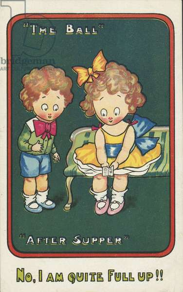 Two children after supper (chromolitho)