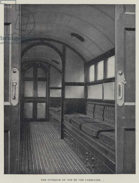 The Interior of one of the Carriages (b/w photo)