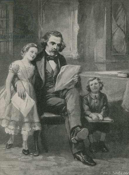 Nathaniel Hawthorne reading to his children (litho)