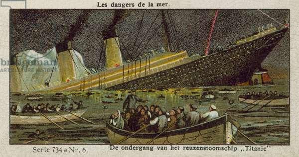 The sinking of the Titanic, 15 April 1912 (chromolitho)