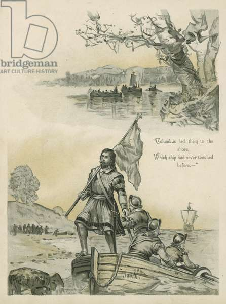 Columbus coming ashore in the New World (chromolitho)