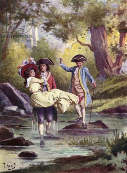 I took Edmee in my arms, and quietly waded through the stream. Illustration for Mauprat by George Sand (colour litho)