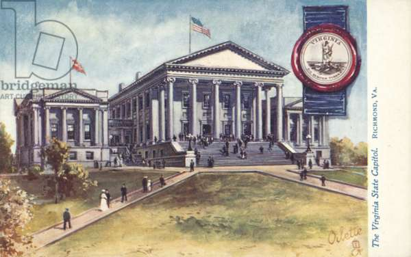 The Virginia State Capitol, Richmond, Virginia (colour litho)