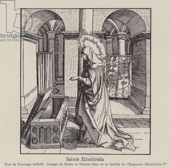 St Ethelreda, 7th Century East Anglian princess and Abbess of Ely (litho)