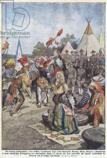 Gli indiani festeggiano i loro reduci (colour litho)