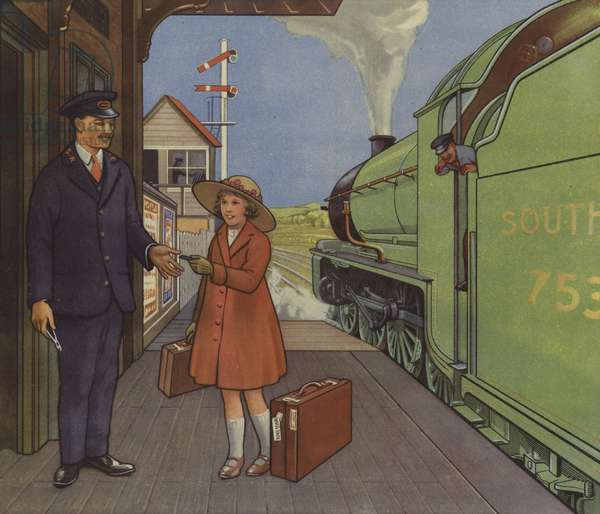 Girl giving her railway ticket to the station master (colour litho)