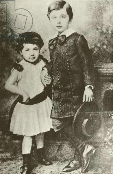Albert Einstein and his sister, Maja (b/w photo)