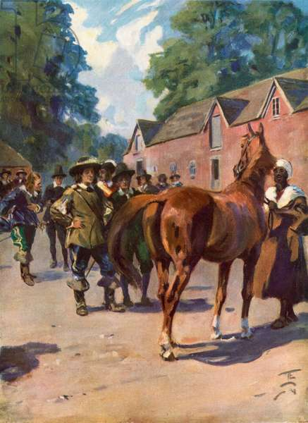 Oliver Cromwell had an eye for a horse (colour litho)