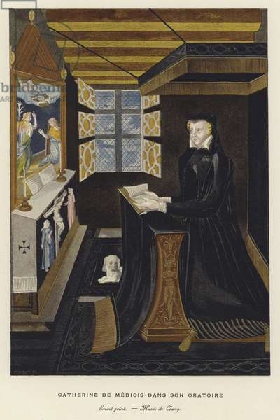 Catherine de' Medici in her oratory (colour litho)
