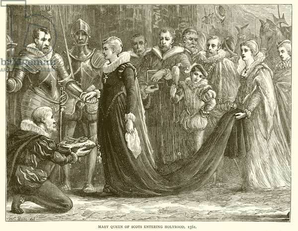 Mary Queen of Scots entering Holyrood, 1561 (engraving)