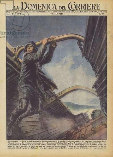 Un uomo solo contro la grande tempesta (colour litho)