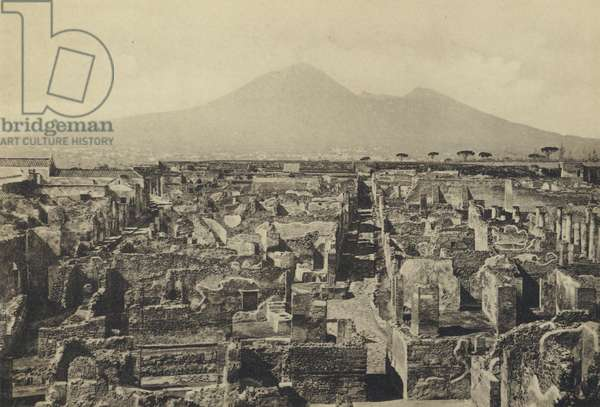 Naples: Pompei, Panorama Col Vesuvio (b/w photo)