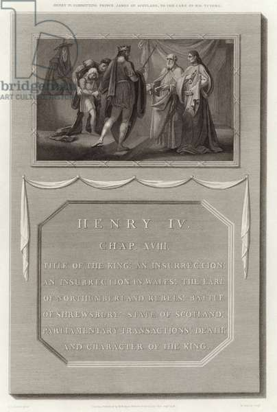 Henry IV committing Prince James of Scotland, to the care of his tutors (engraving)