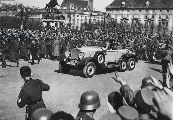 Austrian Anschluss, Hitler's parade in Heldenplatz, Vienna, 14 March 1938 (b/w photo)
