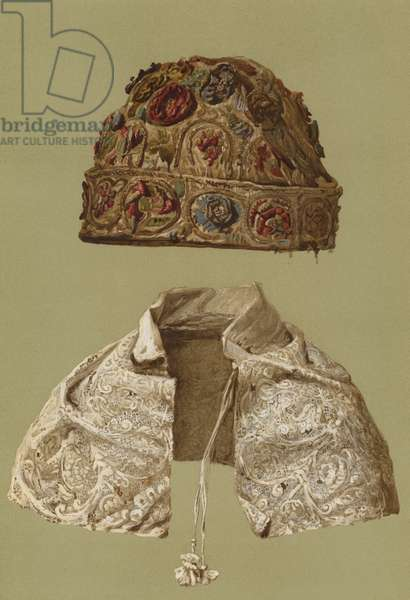 Skull-Cap of King Charles I, Lace Collar (chromolitho)