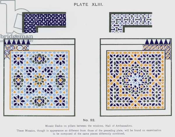Mosaic Dados on pillars between the windows, Hall of Ambassadors (colour litho)