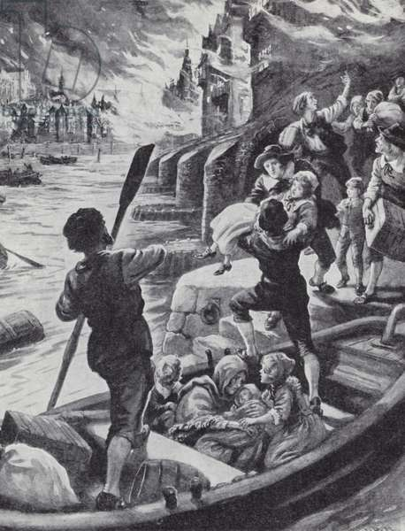 People escaping by boat during the Great Fire of London, 1666 (litho)