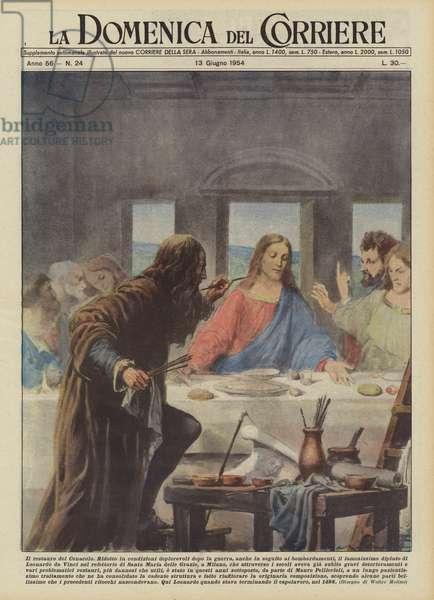 Il restauro del Cenacolo (colour litho)