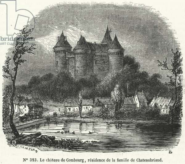 Chateau de Combourg, Brittany, childhood home of French writer and politician Francois-Rene de Chateaubriand (engraving)