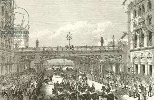 Queen Victoria opening Holborn Viaduct, 1869 (engraving)