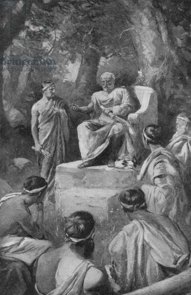 Plato with his pupils in Athens (litho)