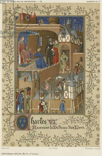 Charles VI receiving the dedication of a book (chromolitho)
