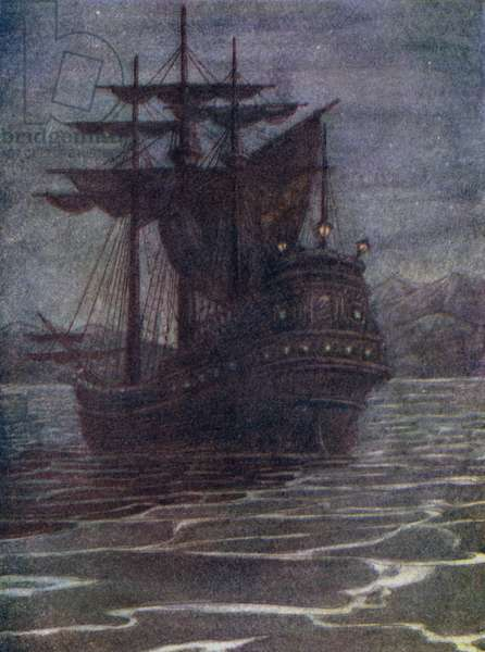 Pirate Vessel, the house of old Hook (colour litho)