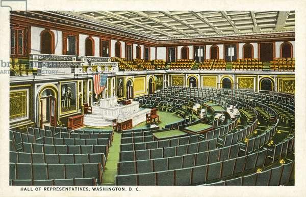 Hall Of Representatives, Washington DC, USA (colour litho)