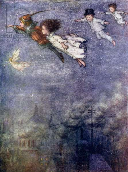 Peter and the children flying through the night (colour litho)