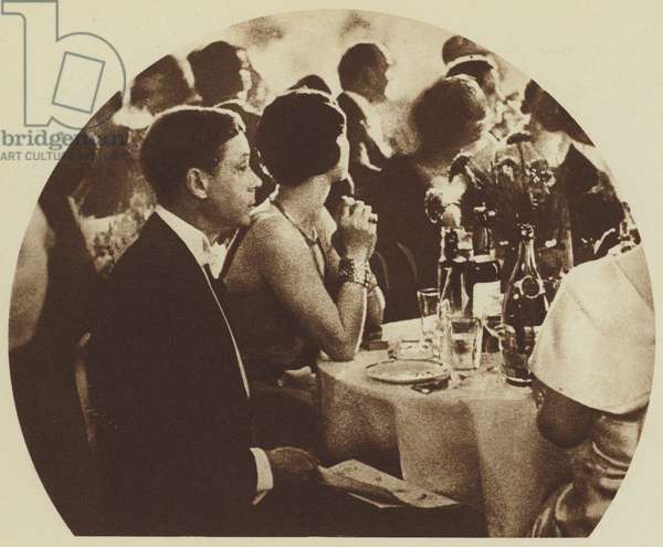 Mrs Wallis Simpson, guest of King Edward VIII, at a London Cabaret in 1936, just before he came to the throne (b/w photo)