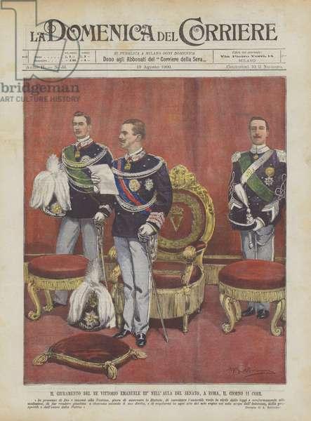 Il Giuramento Del Re Vittorio Emanuele III° Nell'Aula Del Senato, A Roma, Il Giorno 11 Corr (colour litho)
