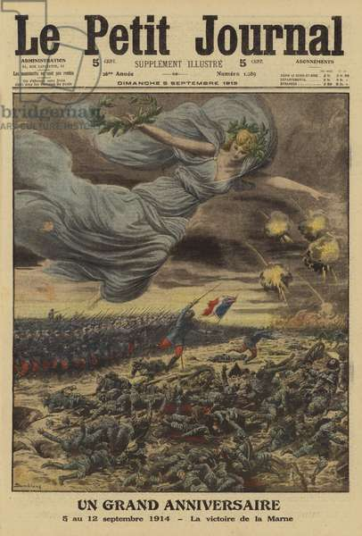 Anniversary of the French victory at the First Battle of the Marne, World War I, 5-12 September 1914 (colour litho)