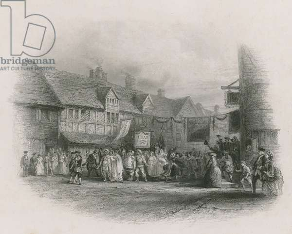 The birthplace of Shakespeare with Garrick's Jubilee Procession (engraving)