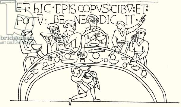 Normans Feasting; with Odo, Bishop of Bayeux, saying Grace (engraving)