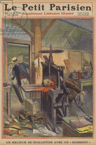 A bookbinder guillotines himself (colour litho)
