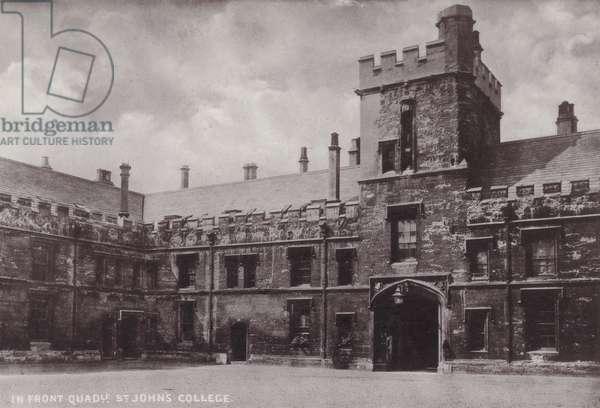 In Front Quadrangle, St John's College (b/w photo)