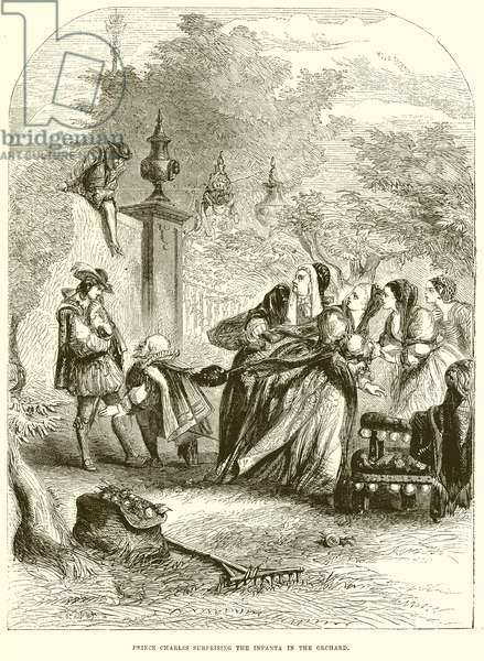 Prince Charles surprising the Infanta in Orchard (engraving)
