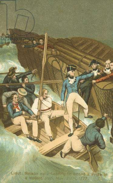 Lieutenant Horatio Nelson boarding a prize in a storm (colour litho)