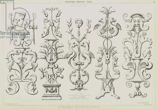Arabesque pilasters from the tomb of Pope Julius II by Michelangelo in the Church of San Pietro in Vincoli, Rome, Italy (litho)