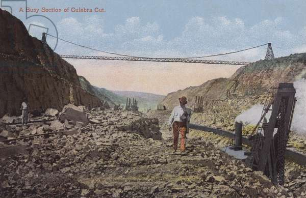 Panama Canal, A Busy Section of Culebra Cut (colour photo)