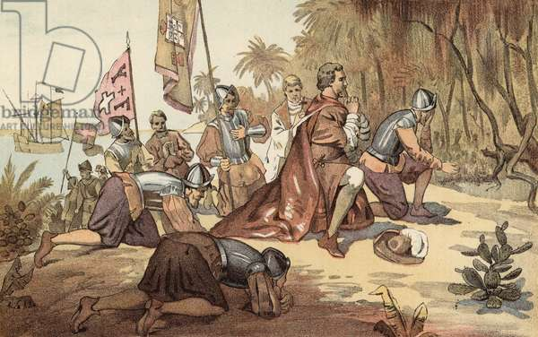 The First Landing of Columbus (colour litho)