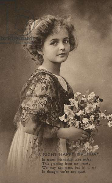 Girl with a posy of flowers and a birthday greeting (b/w photo)