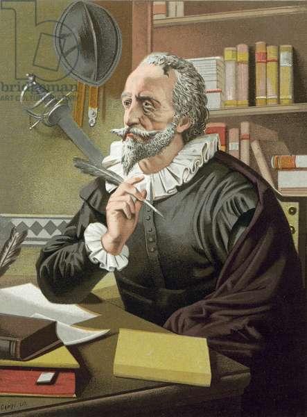 Cervantes in his study (chromolitho)