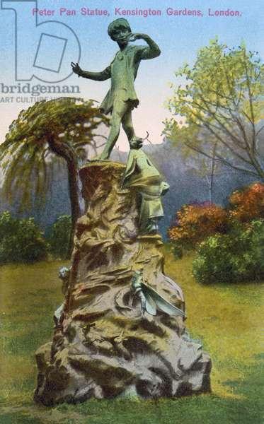 Peter Pan Statue, Kensington Gardens, London (coloured photo)